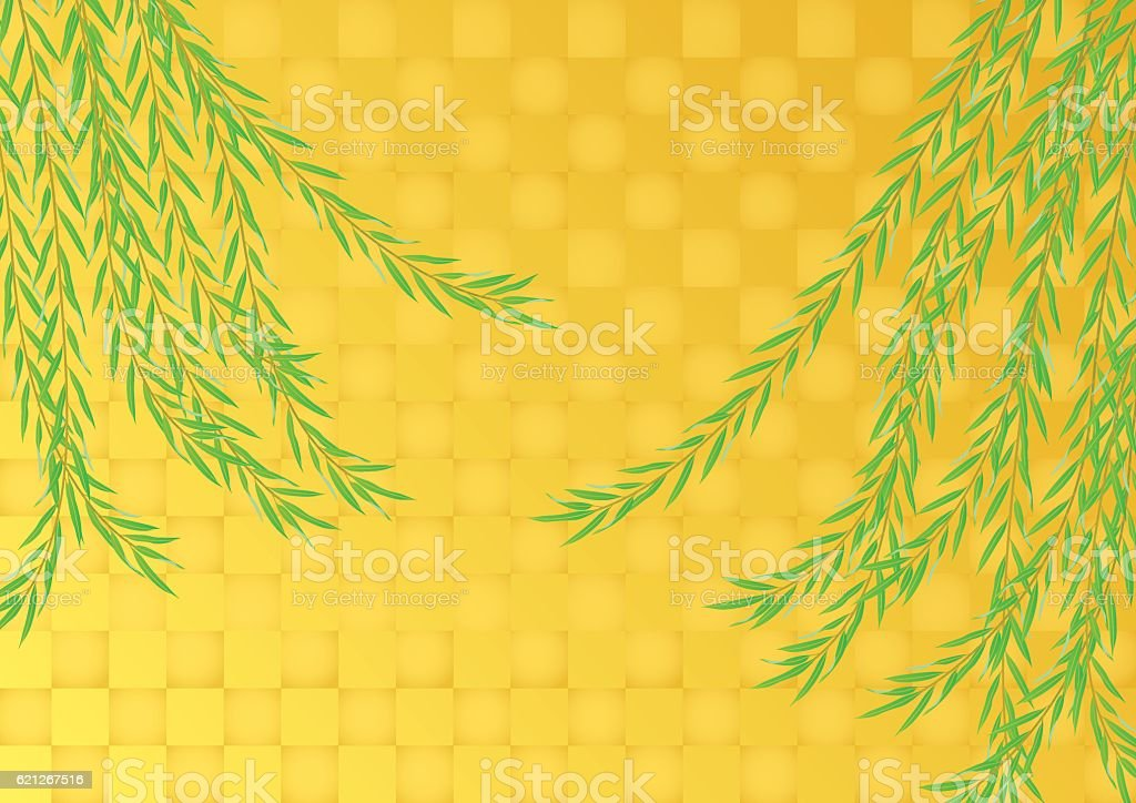 Weeping willow and gold leaf. Background material of Japan. vector art illustration