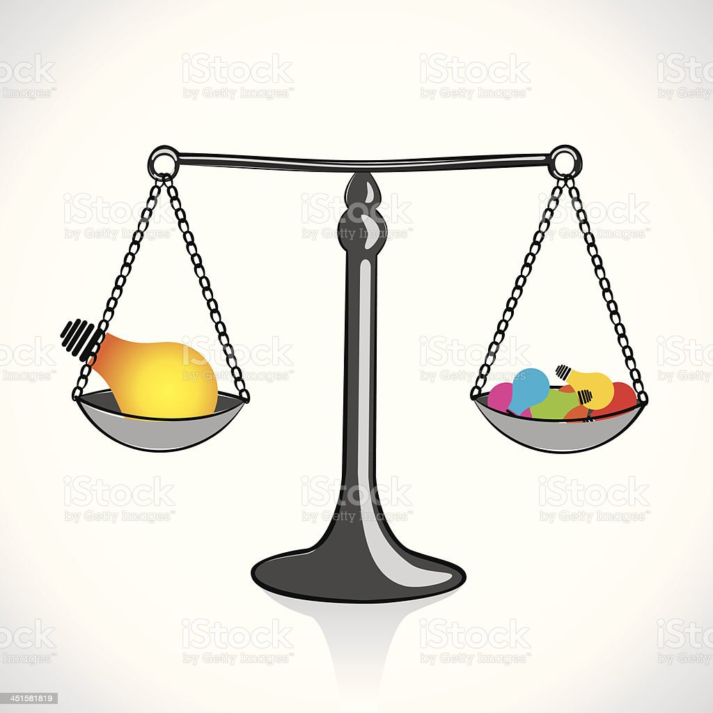 weighing ideas vector art illustration