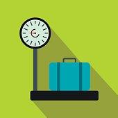 Weighing luggage flat icon