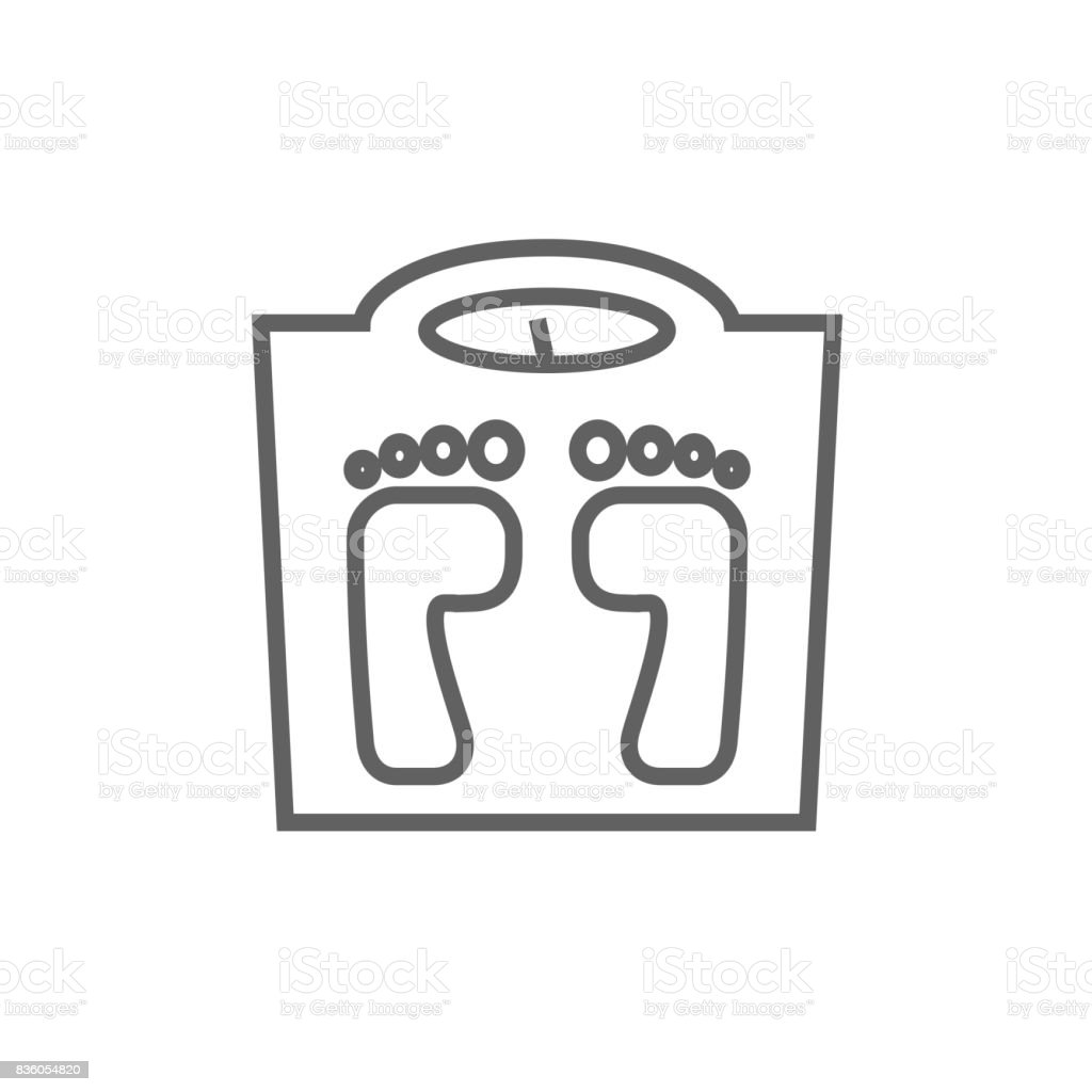 Weighing scale line icon vector art illustration