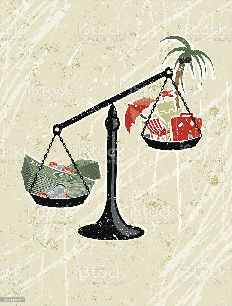 Weighing Scales and Money with Vacation Icons royalty-free stock vector art