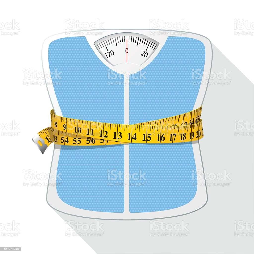 Weighing Scales & Tape Measure / Diet concept vector art illustration
