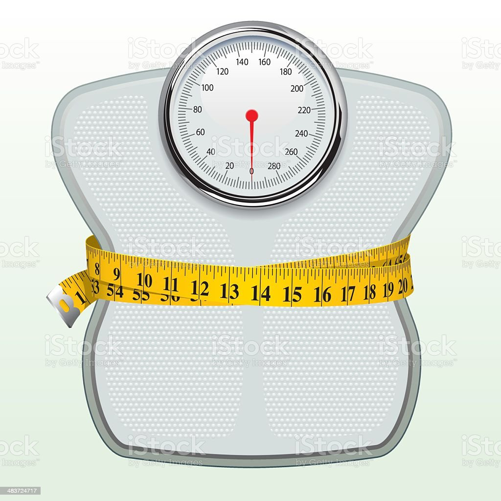 Weighing Scales & Tape Measure vector art illustration