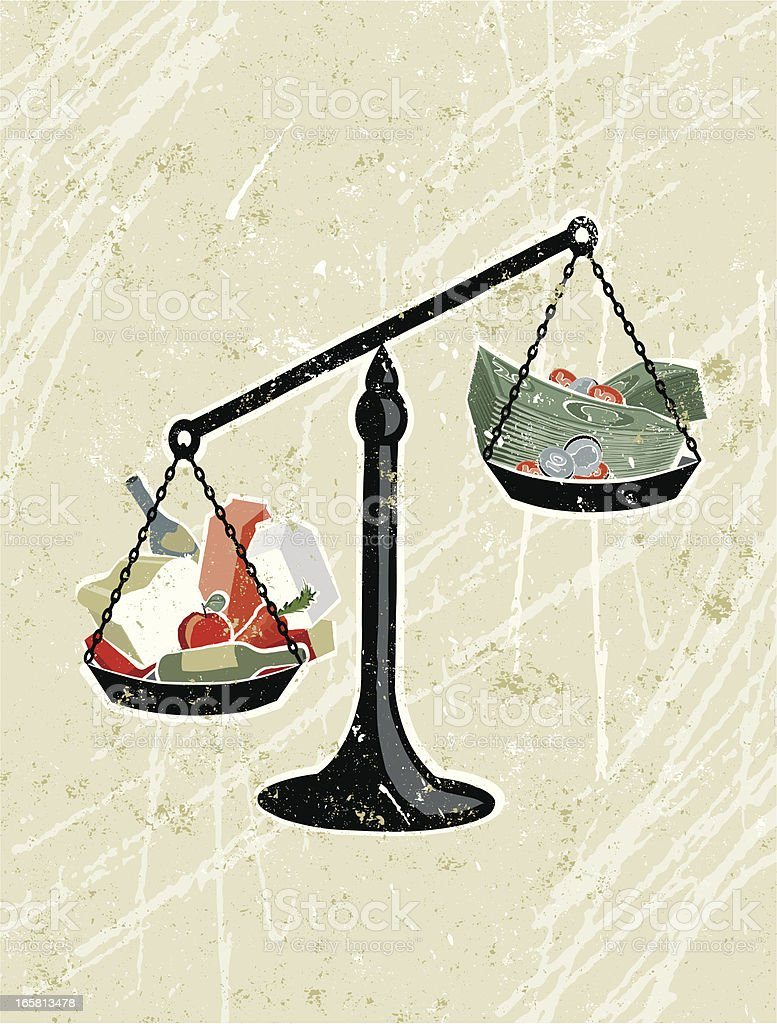 Weighing Scales with Groceries and Money royalty-free stock vector art