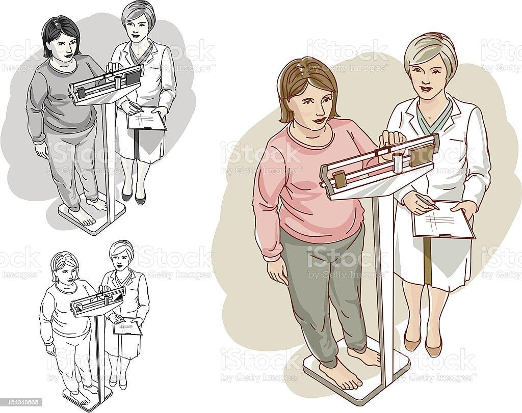 Взвешивание здоровья регулярных обследований Сток Вектор Стоковая фотография