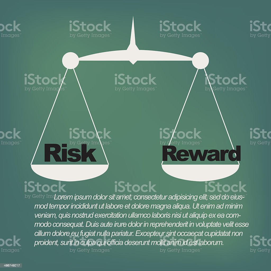 Weighing the risks and rewards vector art illustration