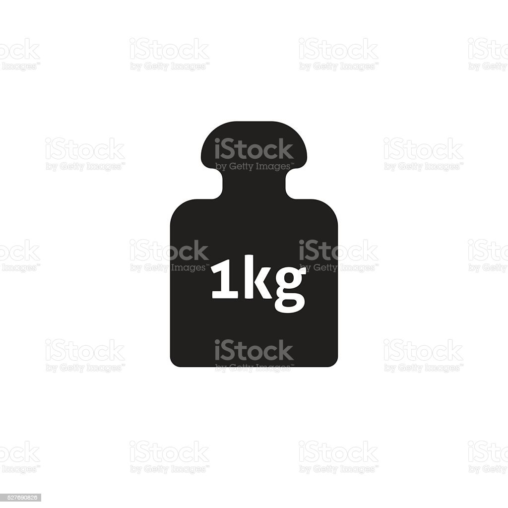 Weight 1 kg vector icon isolated on white, kilogram dumbbell vector art illustration