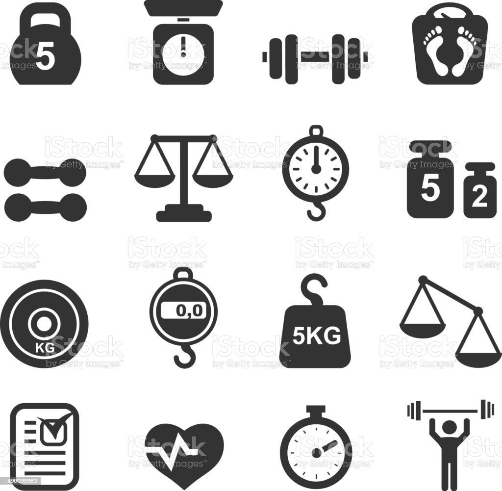 Weight icon set - scales, weighing and  balance vector art illustration