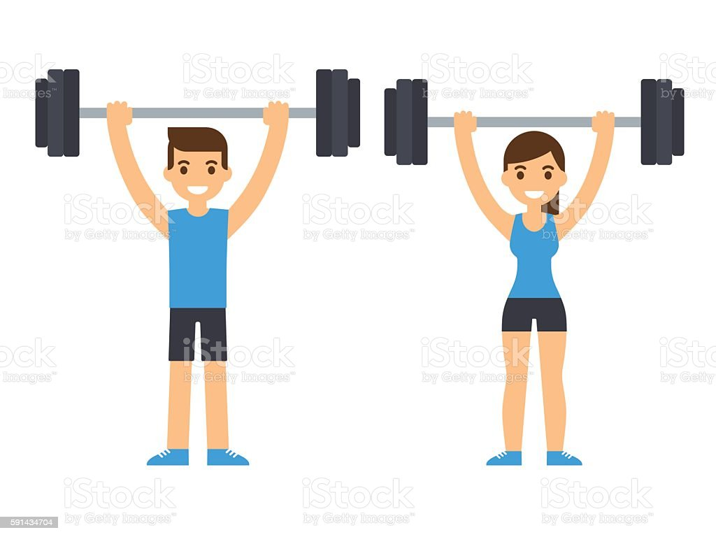 weight lifting athletes vector art illustration