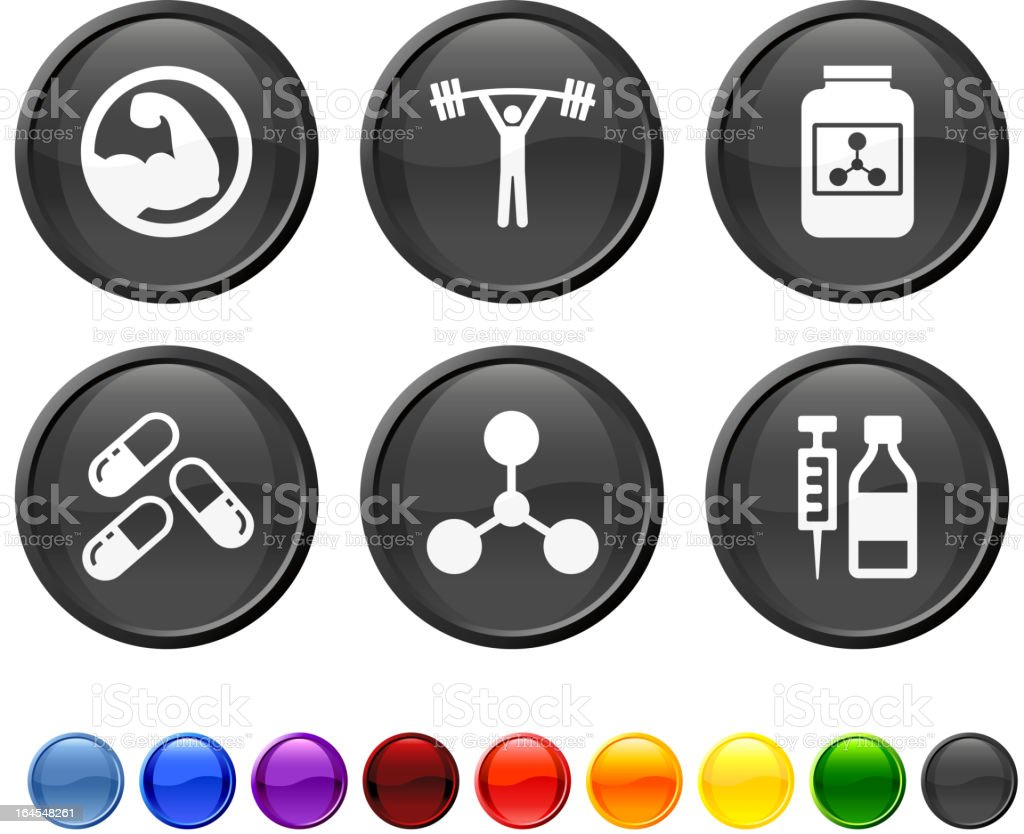 weight lifting performance enhancements royalty free vector icon set royalty-free stock vector art