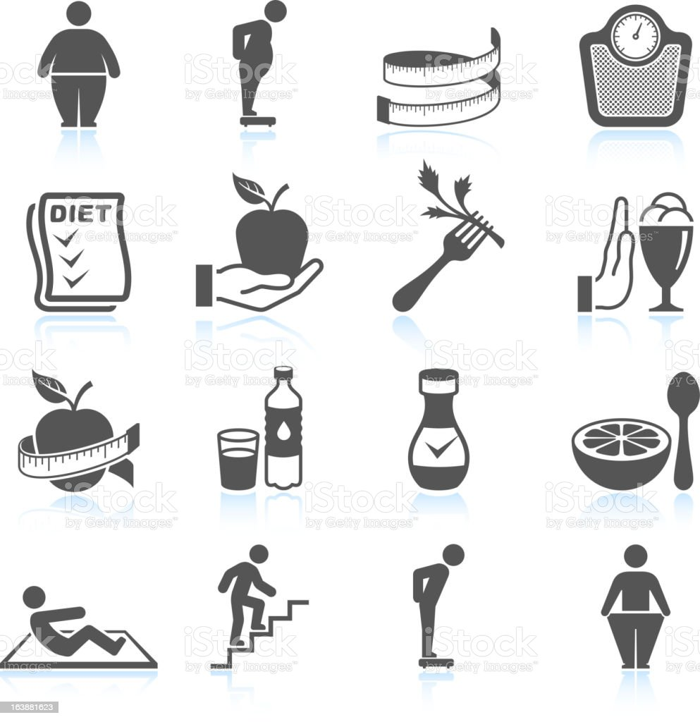weight loss exercise diet and gym ector interface icon set vector art illustration