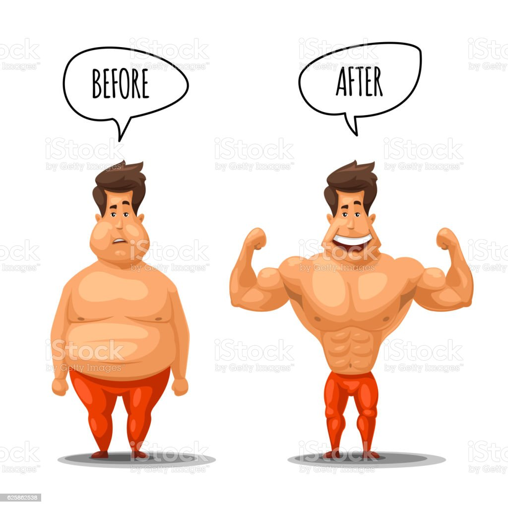 Weight loss. Man before and after diet vector illustration vector art illustration