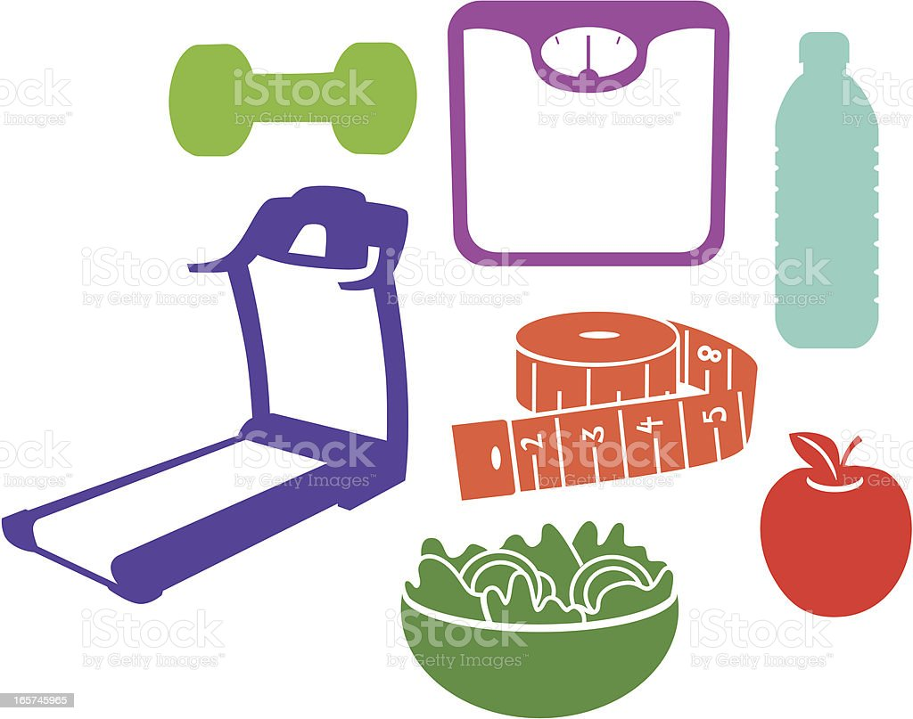 Weight Loss Silhouettes vector art illustration