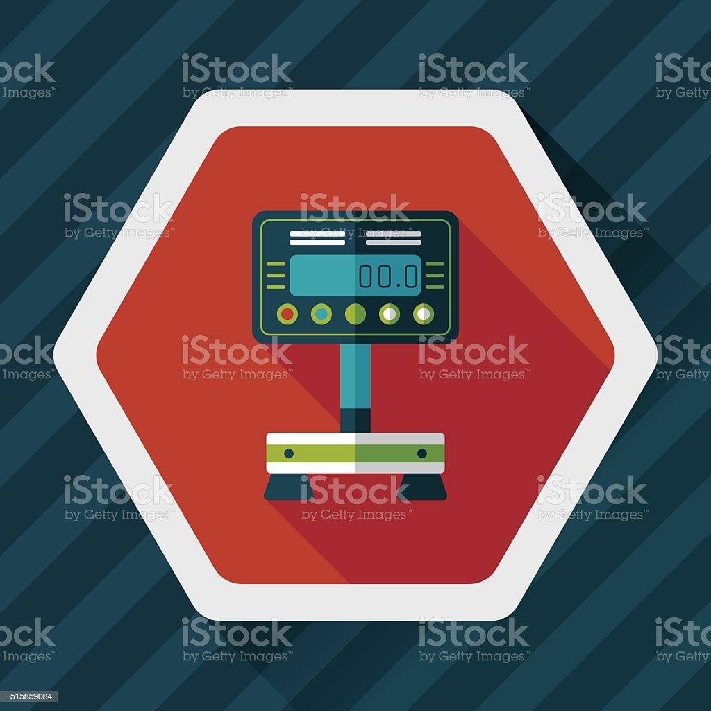 Weight scale flat icon with long shadow vector art illustration
