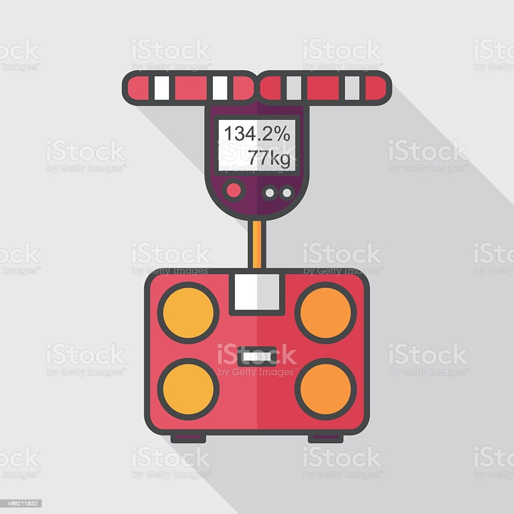 Weight scale flat icon with long shadow,eps10 vector art illustration