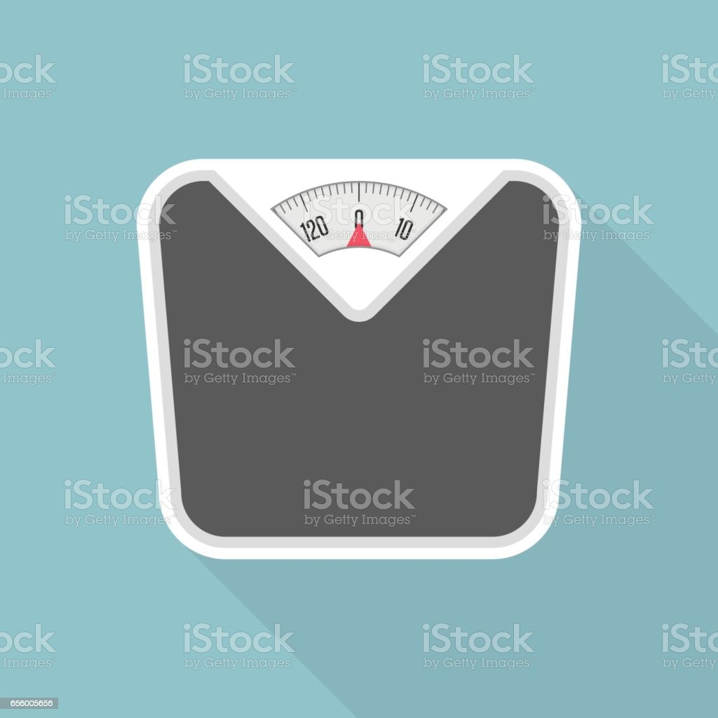 Weight scale with long shadow. vector art illustration