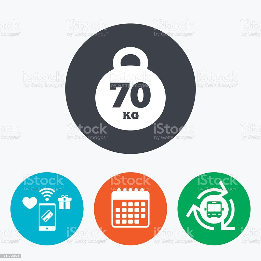 Weight sign icon. 70 kilogram (kg). Sport symbol vector art illustration