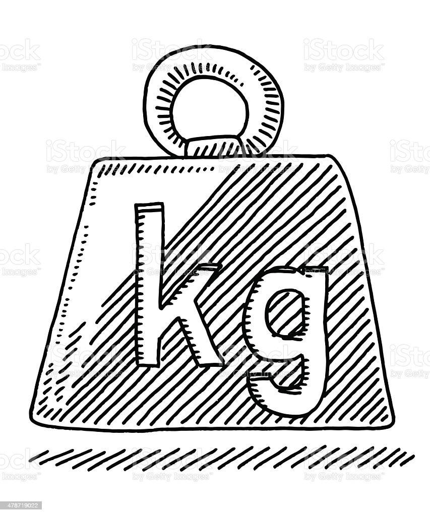 Single Weight Line Art : Zeichen symbol kilogramm gewicht vektor illustration