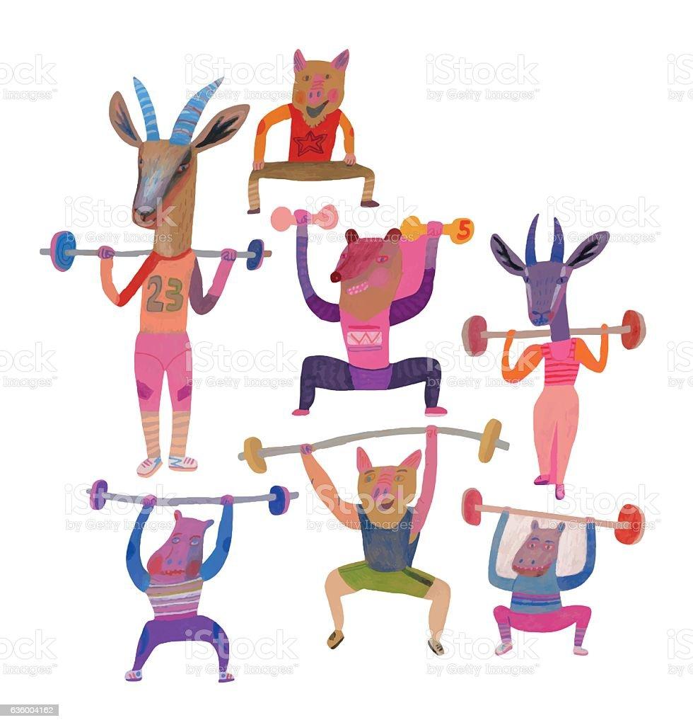 Weight training vector art illustration