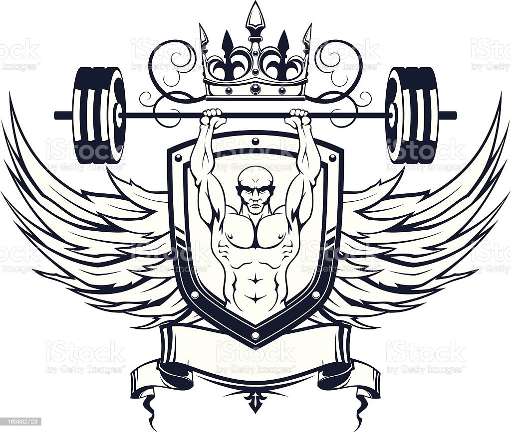 Weightlifter geraldic royalty-free stock vector art