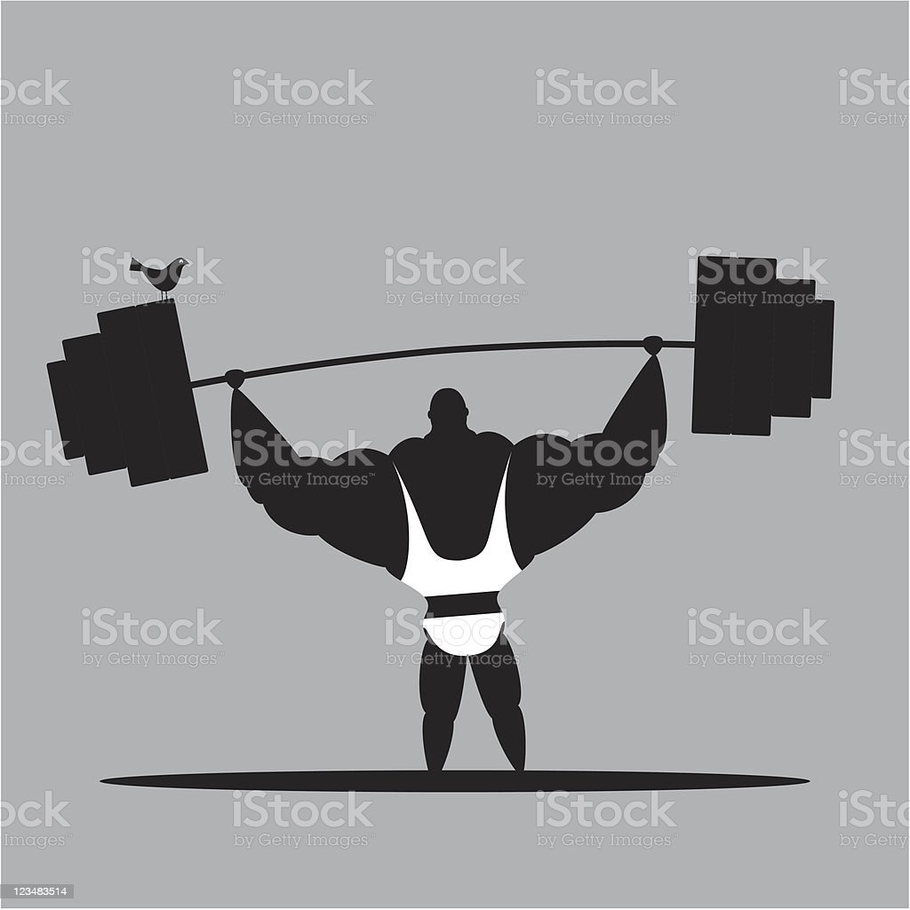 Weightlifting And Bird royalty-free stock vector art
