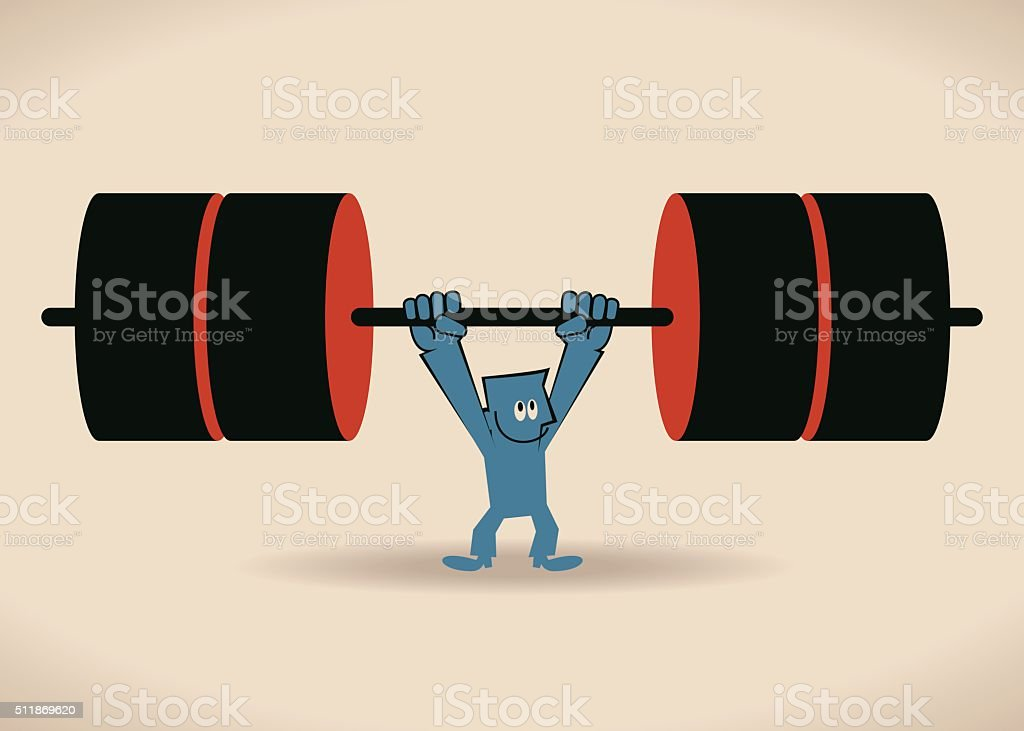 Weightlifting Businessman, strong man lifting heavy weights vector art illustration