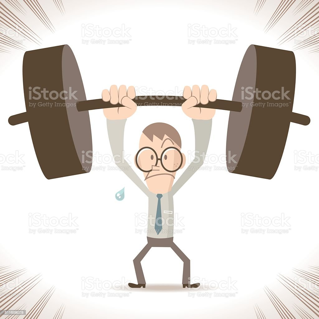 Weightlifting Businessman, strong thin man lifting a heavy weight vector art illustration