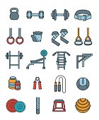 Weightlifting flat vector thin lines colorful icons set