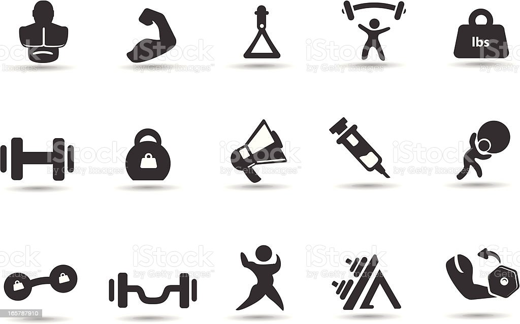 Weightlifting Icons royalty-free stock vector art