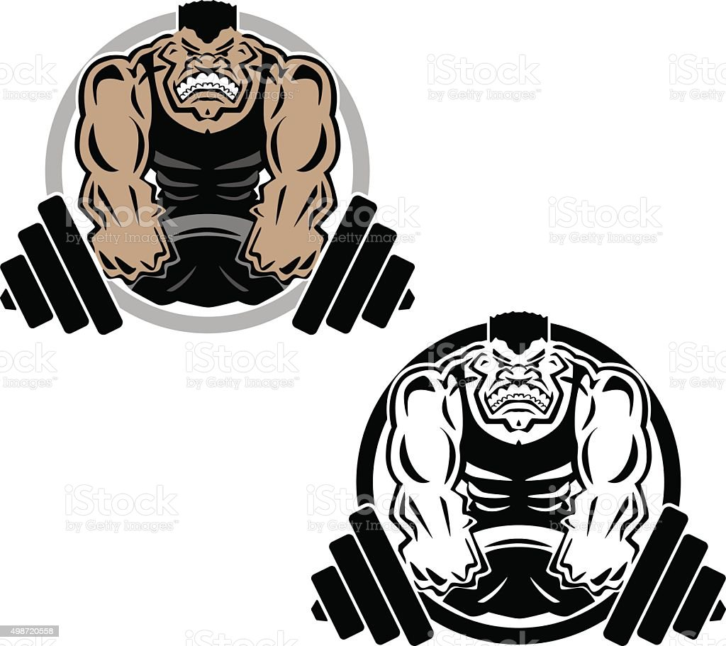Weightlifting Muscle Fitness Gym Logo Illustration vector art illustration