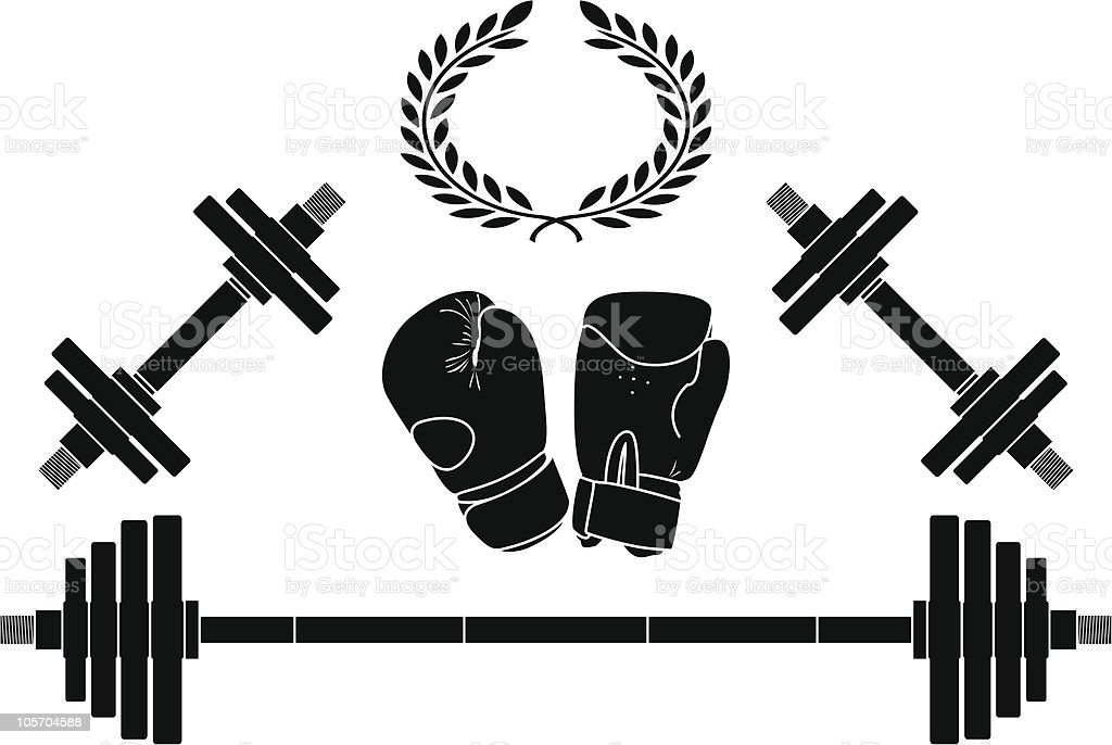 weights and boxing gloves vector art illustration
