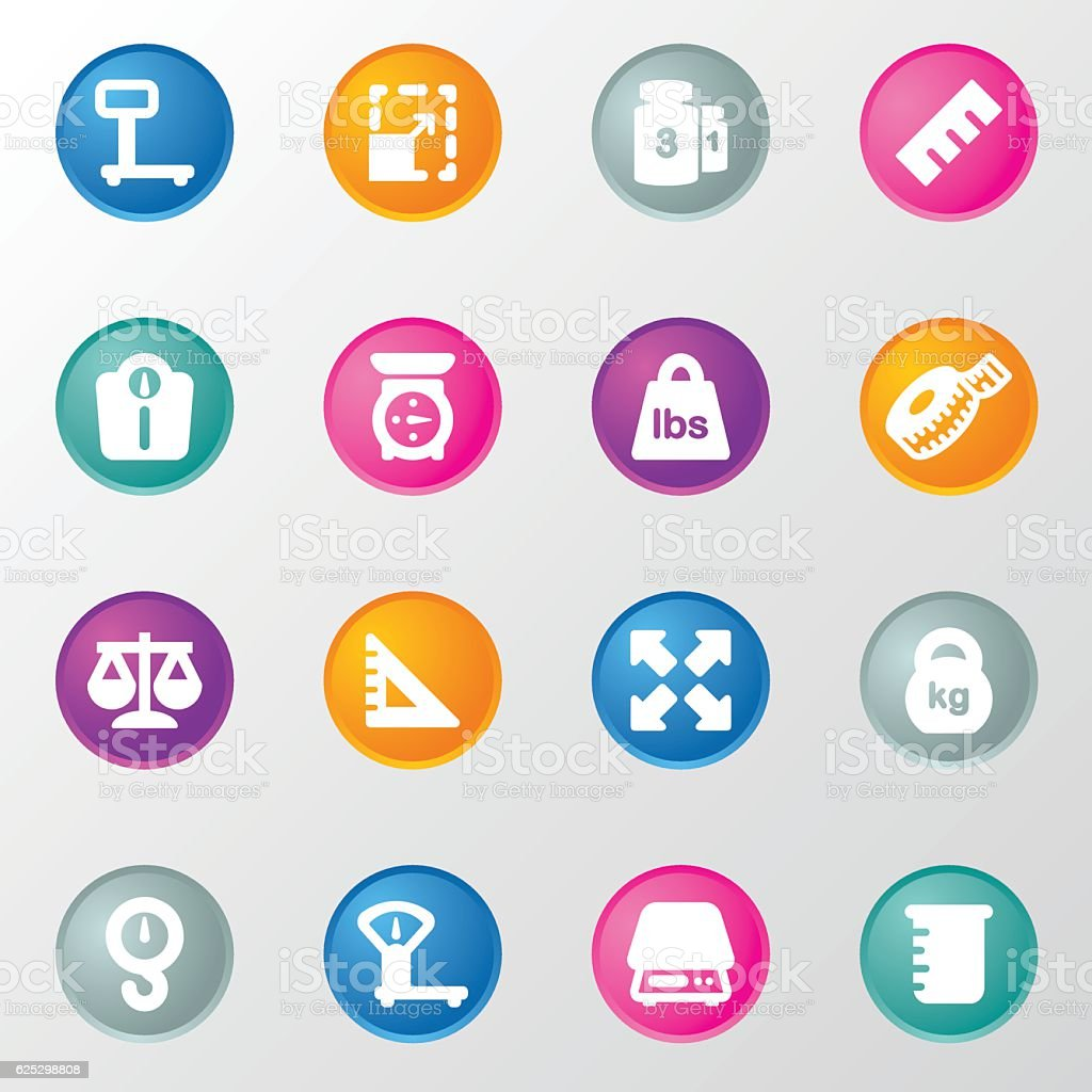 Weights and Scales Circle Color Icons vector art illustration