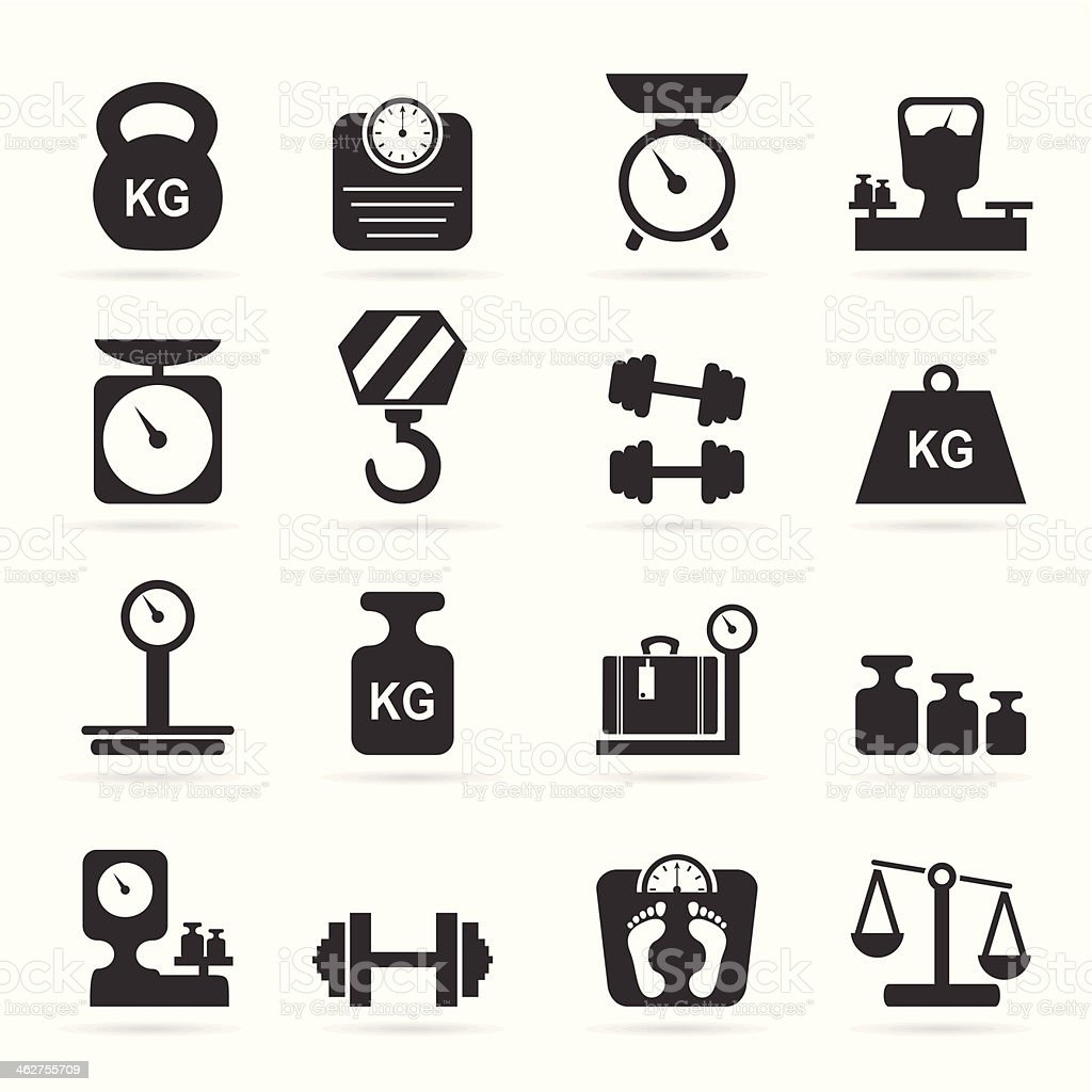 Weights and scales icons vector art illustration