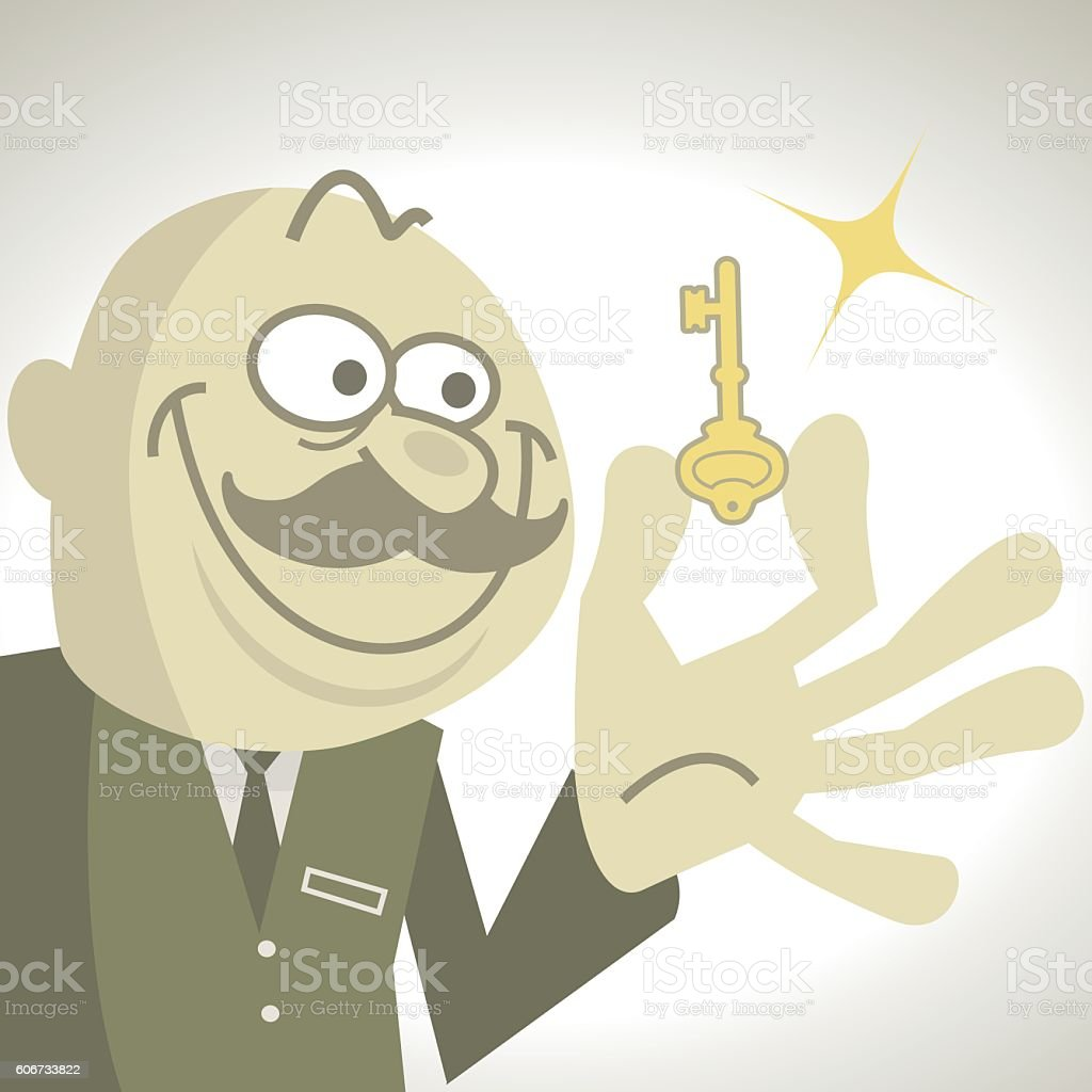Weird bald businessman holding a key with a cunning smile vector art illustration
