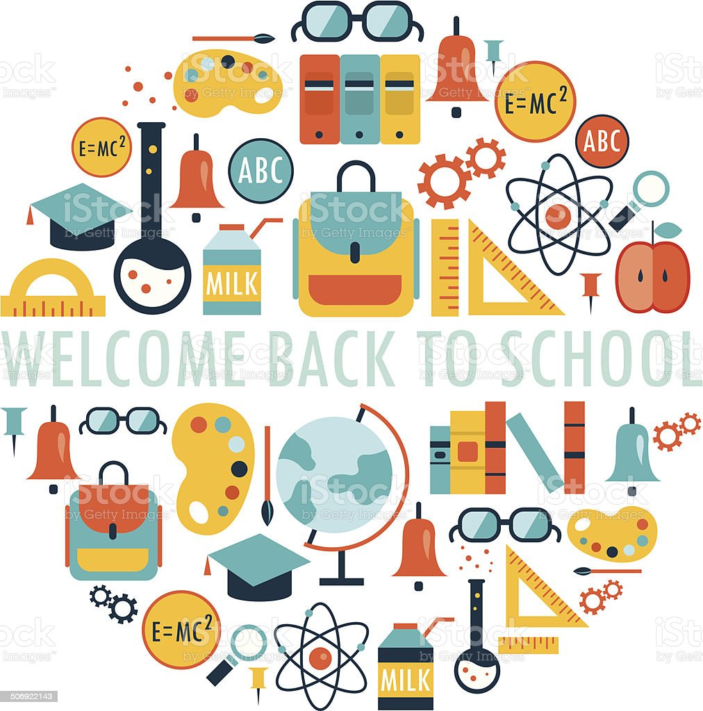 Welcome back to school background vector art illustration