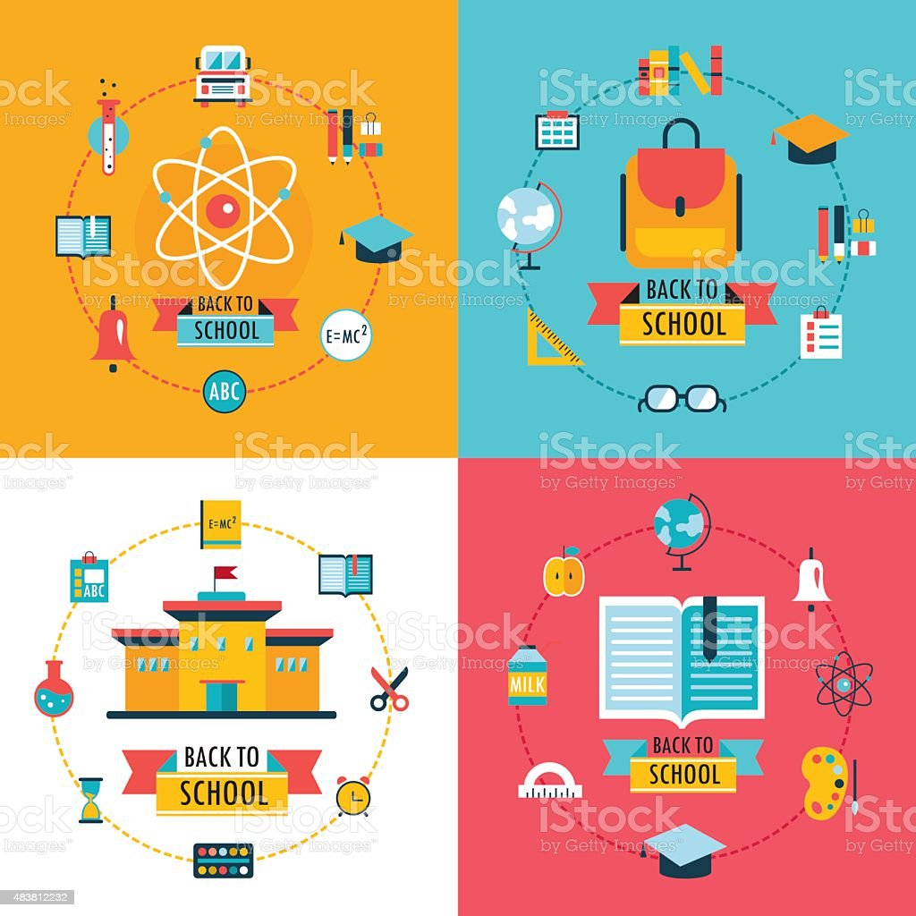 Welcome back to school Education banner set Flat Design vector art illustration