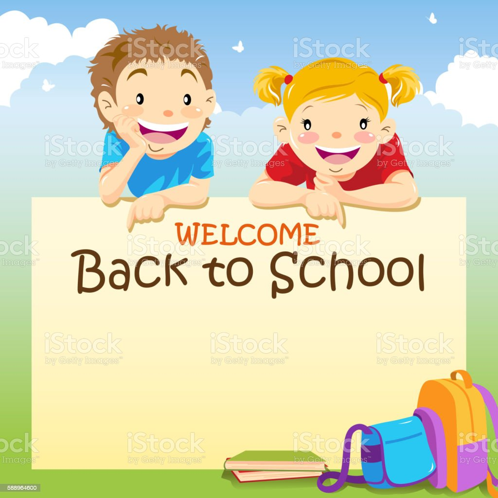 Welcome Back to School Notice vector art illustration