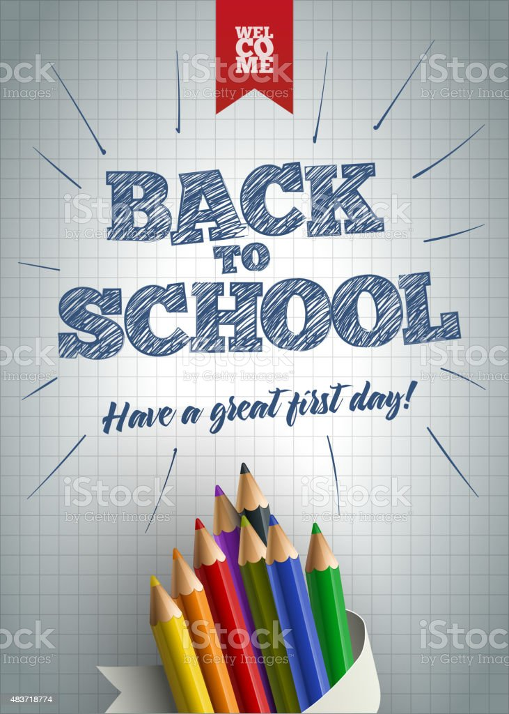 Welcome Back to School Poster vector art illustration