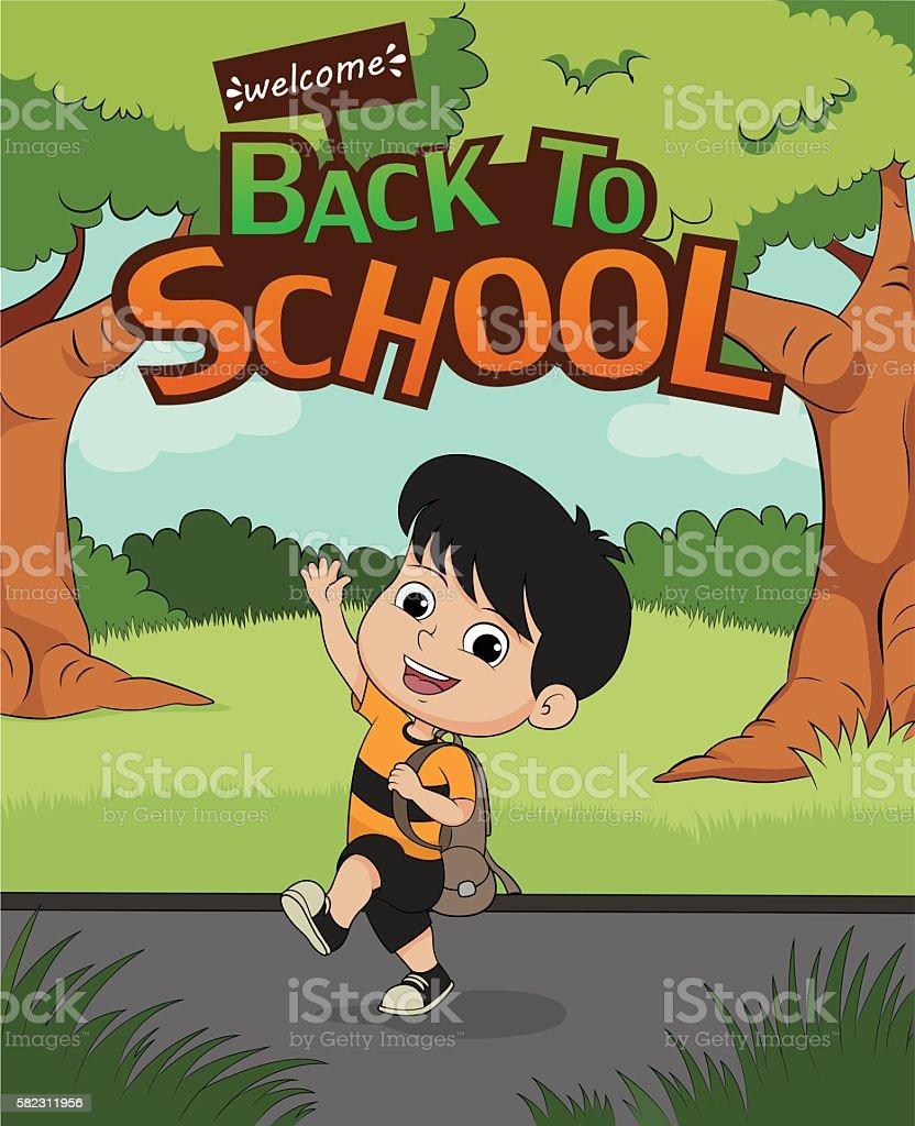 welcome back to school.kid walking to school. stock vecteur libres de droits libre de droits
