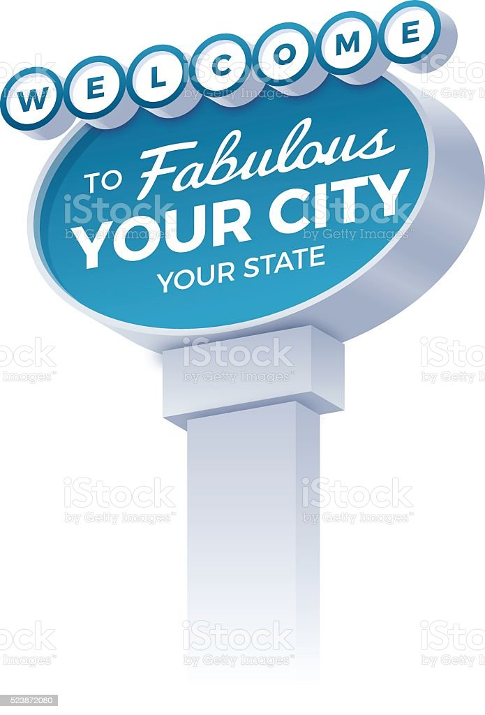 Welcome City Sign vector art illustration