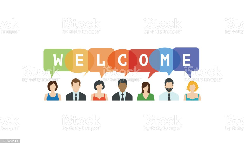Welcome Concept. People icons with speech bubbles vector art illustration
