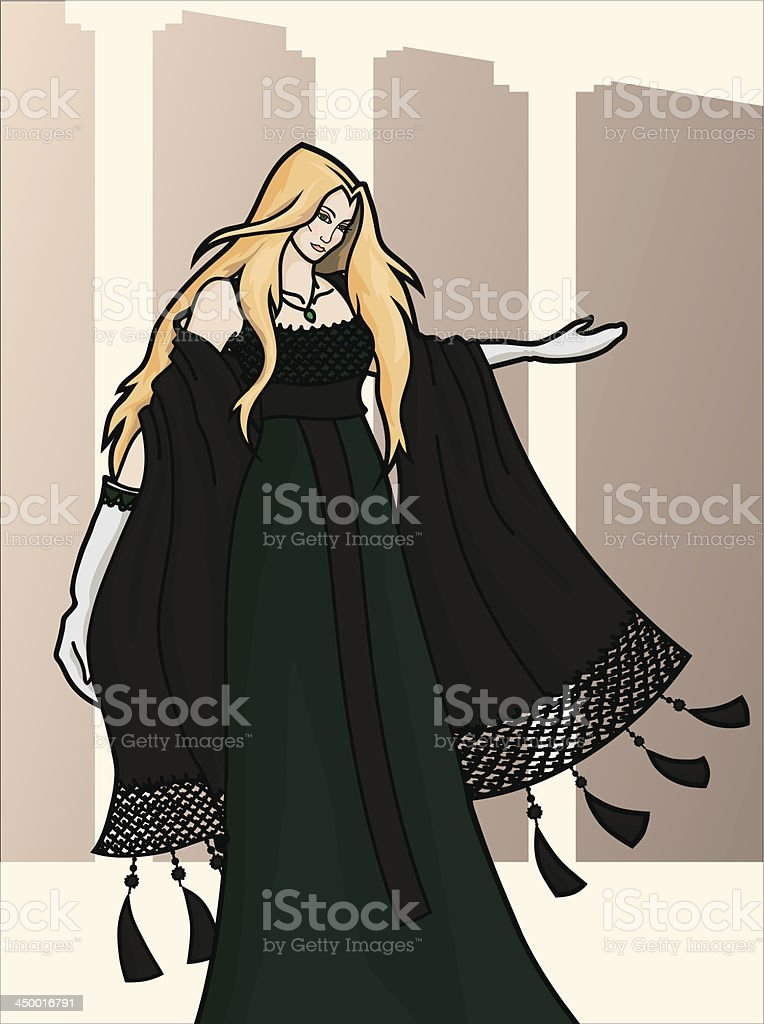 Welcome. Invitation of young pretty woman in dark long dress royalty-free stock vector art