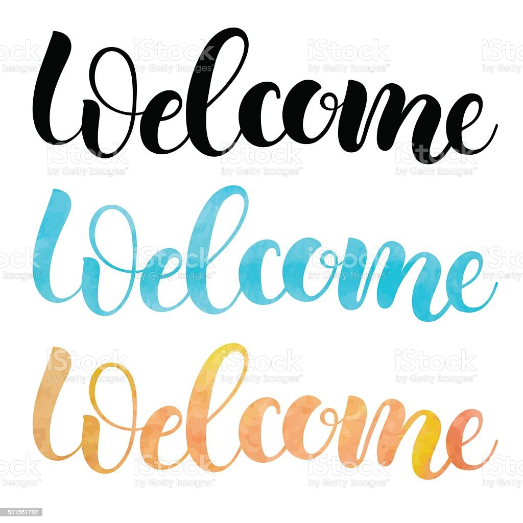 Welcome, isolated handmade watercolor lettering vector art illustration