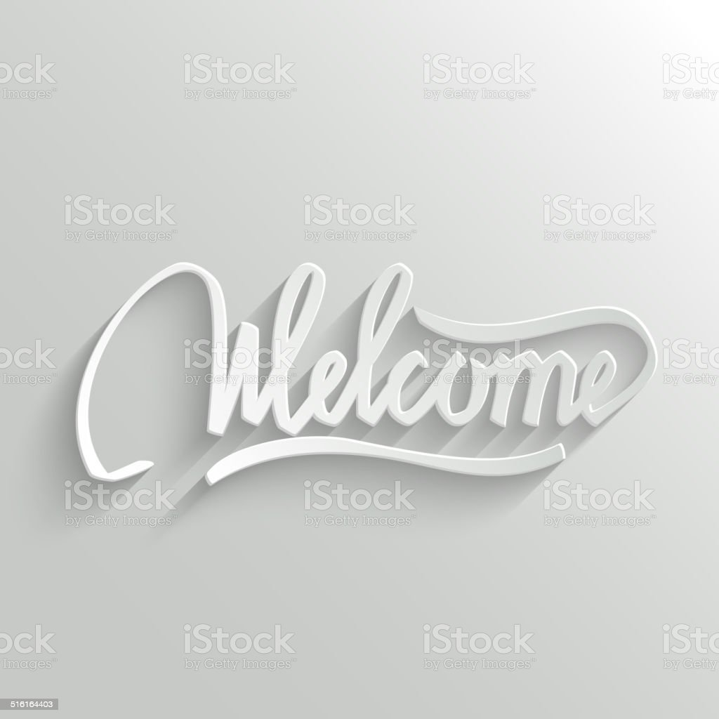 Welcome lettering Greeting Card vector art illustration