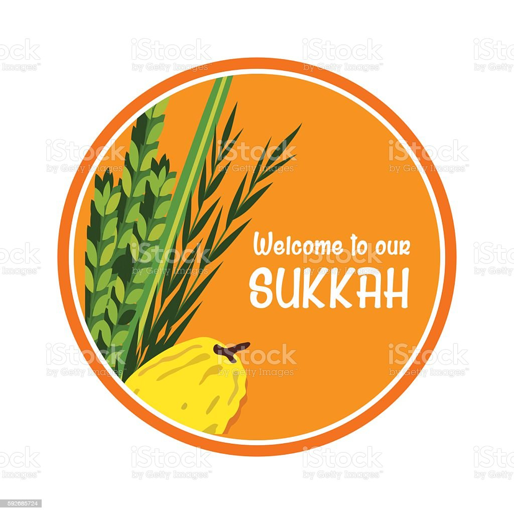 welcome sign for traditional Jewish holiday Sukkot. vector art illustration