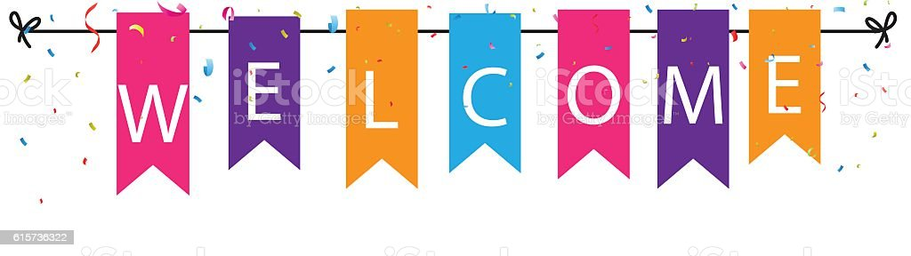 Welcome sign with colorful bunting flags and confetti vector art illustration