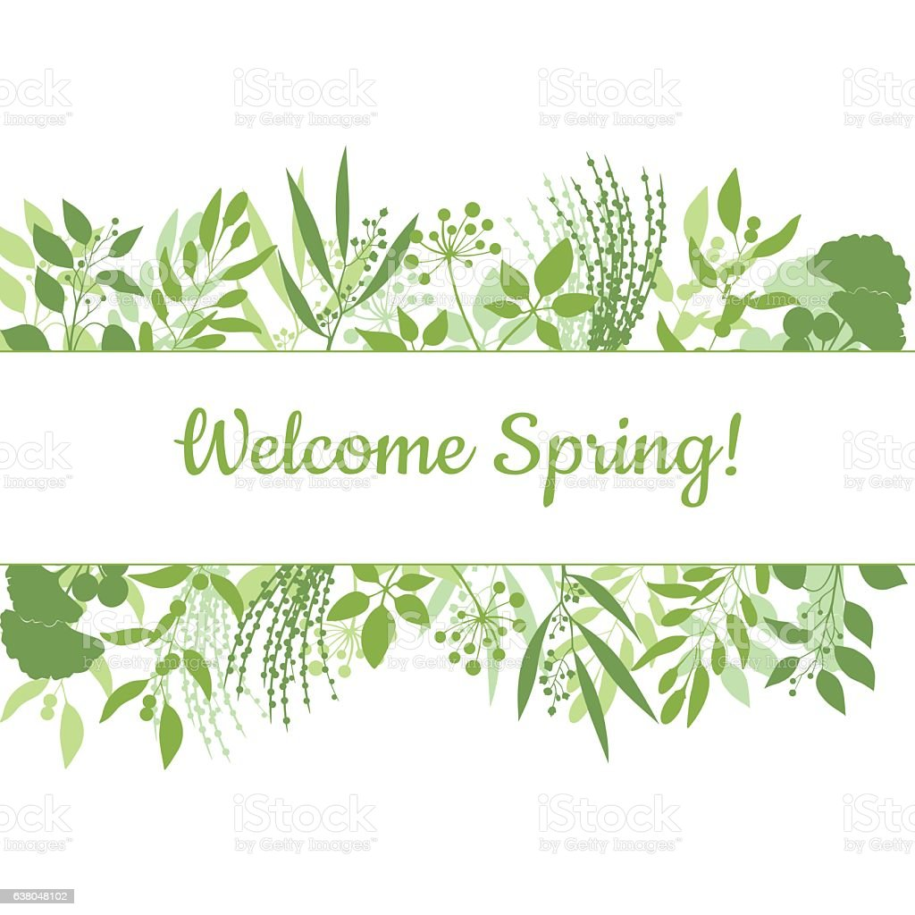 Welcome spring green card design text in floral frame vector art illustration