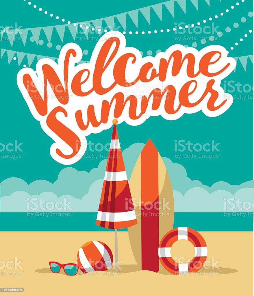Welcome summer fun flat design. vector art illustration
