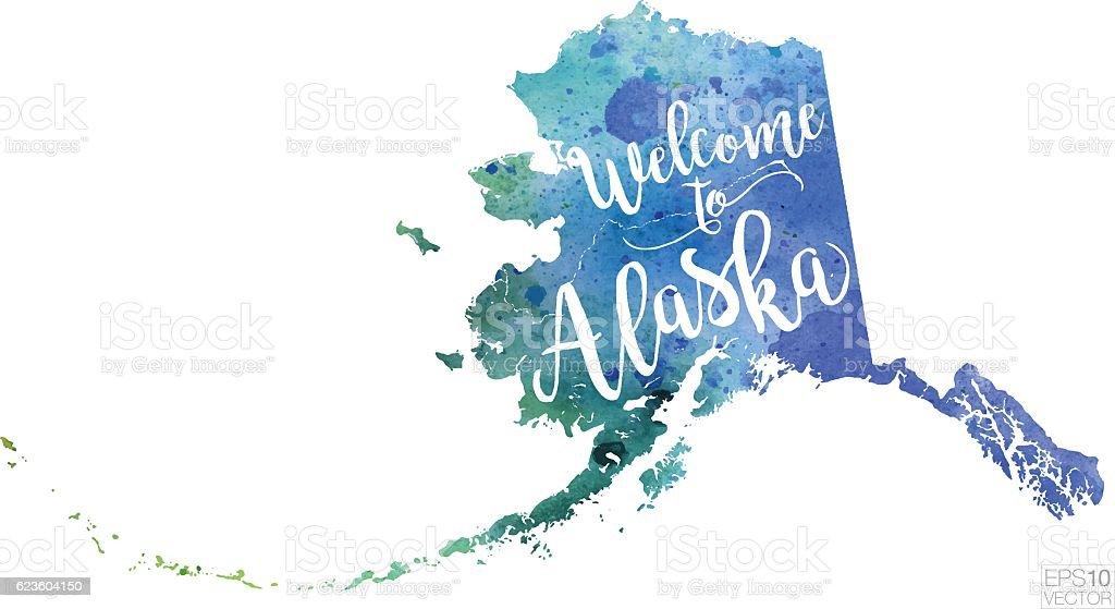 Welcome to Alaska Vector Watercolor Map vector art illustration