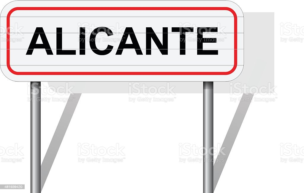 Welcome to Alicante Spain road sign vector vector art illustration